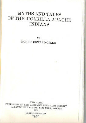 Myths and Tales of the Jicarilla Apache Indians Hardcover 1969 Memoir of Folkore