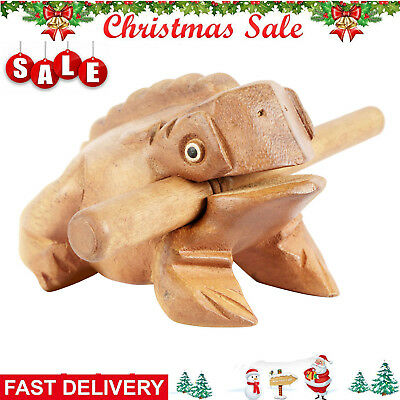 Natural Hand-Carved Wooden Percussion NEW Frog Ribbit Music Instrument