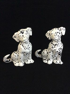 """Dalmatian Dog Figurine Ceramic Hand Painted 6 3/8"""" Tall Set of 2 Signed"""