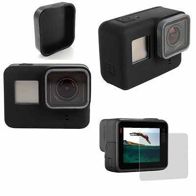 Tempered Glass Screen Protector +Lens Cap +Soft Silicone Cover Case For GoPro 5