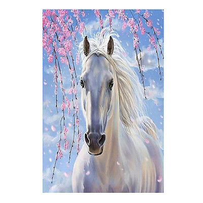 DIY 5D White Horse Diamond Embroidery Painting Cross Stitch Home Wall Decor Hot