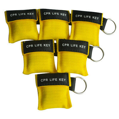 100 psc Emergency CPR Rescue Mask First Aid Key Chain One-Way Valve Mask Yellow