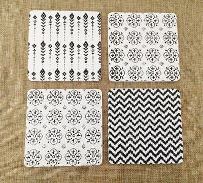 NEW Set of 4 Wood Wooden Black and White Coasters with Cork Back