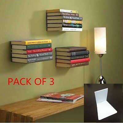 PACK OF 3 Large Wall Mounted Floating Conceal Invisible Book Shelf Large Sliver