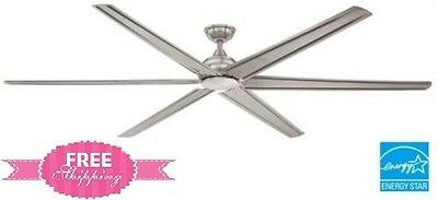 Commercial Ceiling Fan 84 Inch Industrial Large Gargage Brushed Nickel Remote