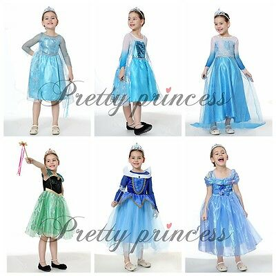 Pretty Princess Grils Fancy Dress Cosplay Party Costume Kids Outfit UK Age 2-9 Y