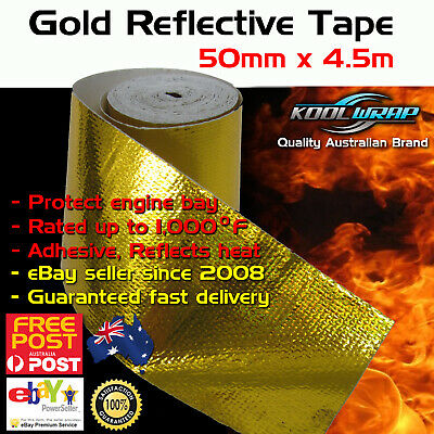 Gold Foil Heat InsulatingTape Hose Wrap Reflective Shield Adhesive 50mm x 4.5m