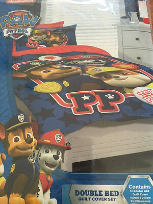 PAW PATROL TOTAL PUPS DOUBLE bed QUILT DOONA DUVET COVER SET NEW