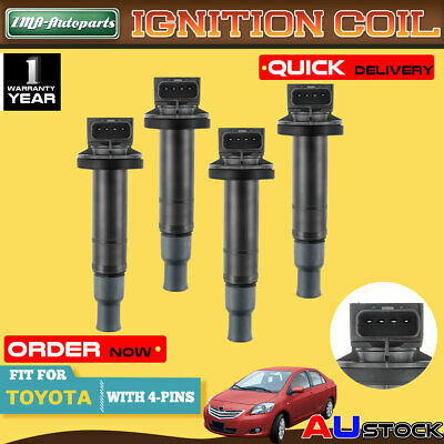 4Pcs for Toyota Echo Yaris Prius 4Cyl 1.3L/1.5L 1NZ-FE 2NZ-FE Ignition Coil