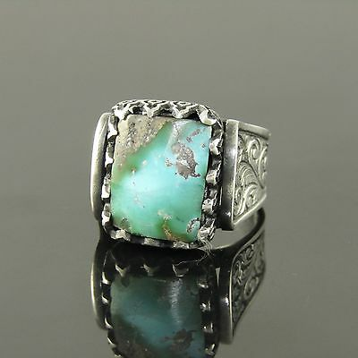 Natural Turquoise Stone Unique Custom Handmade 925 Sterling Silver Men Ring