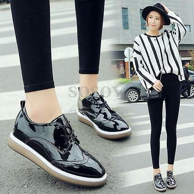 Mujer Zapatos Planos Plataforma Punk Creepers Zapatillas Chunky Oxford Casual