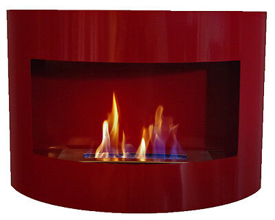 Bio Ethanol Fireplace RIVIERA DELUXE Red Wall Fire Place with Firebox 1 Liter