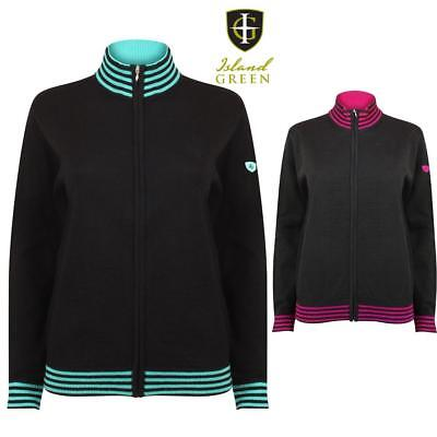 Island Green Ladies Knitted Full Zip Jumper Thermal  Jacket & Breathable  , Golf