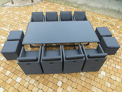 xxl polyrattan lounge set aboyne sitzgruppe gartenm bel garnitur alu grau gruppe eur. Black Bedroom Furniture Sets. Home Design Ideas