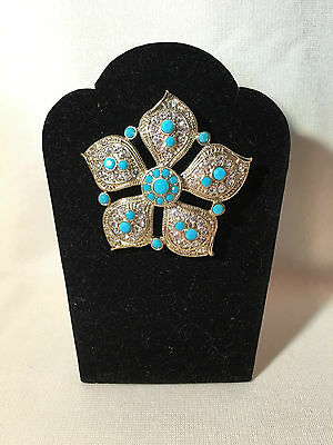 "Vintage ""Monet"" Silvertone, Rhinestone & Turquoise Faceted Bead Pin, Signed"