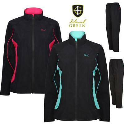 Island Green LADIES Waterproof Golf Suit Jacket & Trousers   Keep Dry Rain Suit