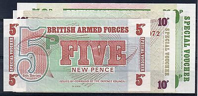 BRITISH ARMED FORCES. 5p, 10p & 50p Banknotes. Pristine. (12/16)