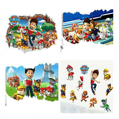 Removable PAW PATROL 3D WALL STICKER SMASHED BEDROOM BORKEN Decor ART KIDS DECAL