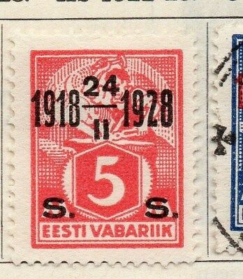 Estonia 1928 Early Issue Fine Mint Hinged 5s. Surcharged Optd 114126