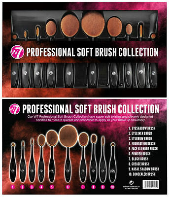 W7 Professional Soft Oval Brush Collection - 10 Piece Gift Free Delivery