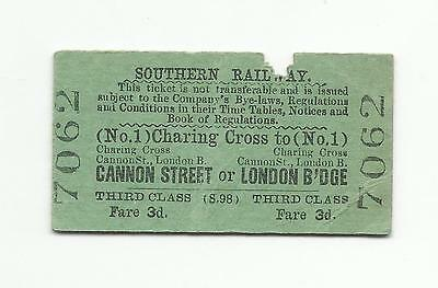 SR ticket, Charing Cross to Cannon Street or London Bridge, 1939