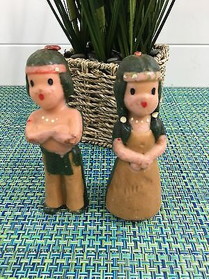 "RARE Gurley Large Pilgrim Indian Girl & Indian Boy Candle Set 5"" Thanksgiving"