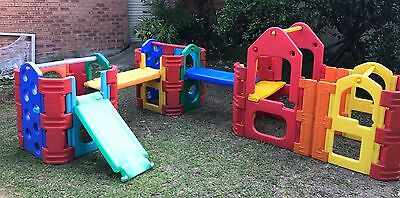 Xlarge Triple Play Gym / Cubby House / Slide Outdoor Kids Play Equipment - Water