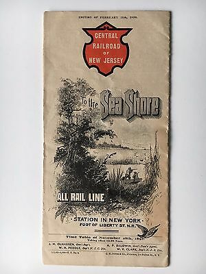 RARE 1892 Central Railroad of New Jersey To The Seashore Fold Out Timetable