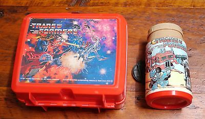Vintage 1984 TRANSFORMERS Red Plastic Collectible ALADDIN Lunch Box + Thermos