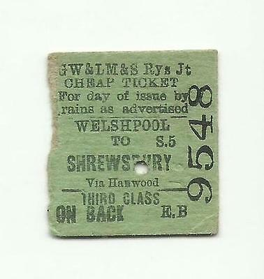 GWR & LMS Joint ticket, Welshpool to Shrewsbury, 1940