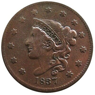 1837 United States Copper Large Cent Matron Young Head Coin Very Fine Condition