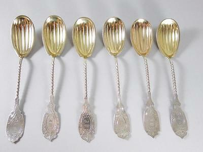 Set Of 6 Coin Silver Ice Cream Spoons By Barretta & Sherwood