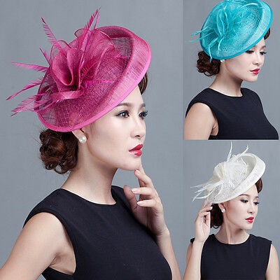 Hot Sinamay Big Flower Fascinator Hat Cocktail Headband Hair Clip Wedding Party