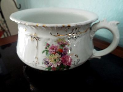 ANTIQUE Victorian Transferware Floral Chamberpot Ornate w Gold Trim FREE SHIP
