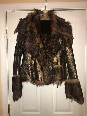 New Woman's Italian Reversible Vintage Fur Coat/Jacket Genuine Goatskin
