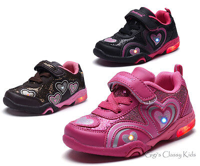 New Baby Toddler Girls LED Light Up Tennis Shoes Glitter Slip On Sneakers Kids