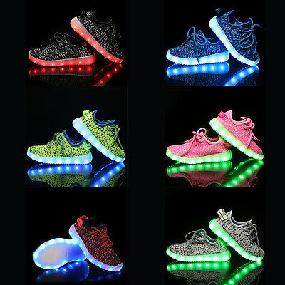 Unisex Kids LED Light Lace Up Luminous Shoes Sportswear Sneaker Casual Shoes Lot