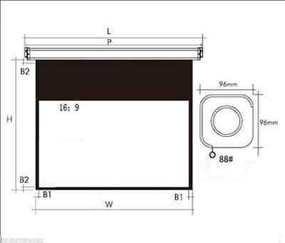 """Electric 100"""" Diagonal 16:9 White Plastic or Glass Curtain Projection Screen m"""