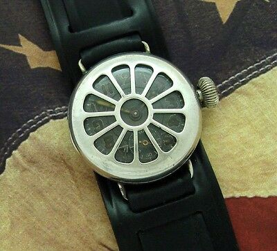 Men's 1918 Illinois Trench Watch w/ Black Dial and Shrapnel Guard - SERVICED
