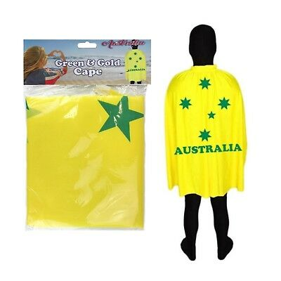 Green And Gold Aussie Australian Cape Wrap Australia Day Costume Fancy Dress