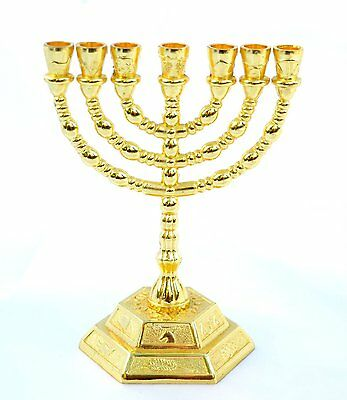"""8"""" inches Tall 12 Tribes of Israel Emblems Jewish 7 Branch Gold Temple Menorah"""