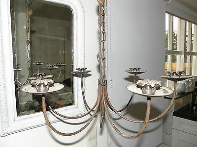 Vintage Wrought Iron Candle Chandelier.