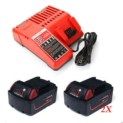 2X Battery+Charger 4.0Ah 18V Red Lithium Ion XC 4.0 for Milwaukee M18 48-11-1828