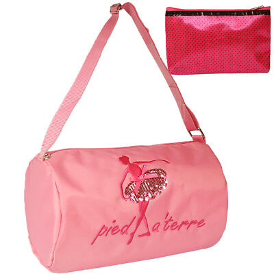 kilofly Ballerina Princess Ballet Dance Shoulder Bag Small Cosmetic Pouch Pink
