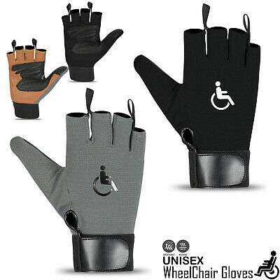 Wheelchair Gloves Mobility Fingerless Long Thumb Leather Palm Gloves