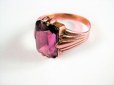 Art Deco Ring Rotgold 585 mit Amethyst