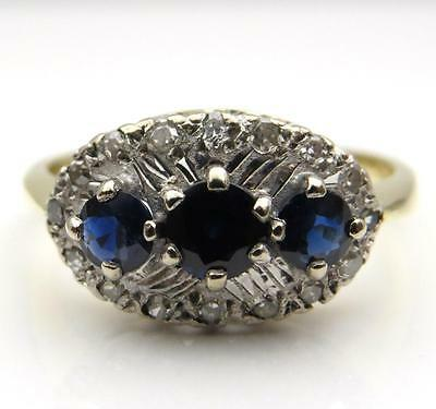 Vintage Sapphire Trilogy & Diamond 18Ct Gold Ring Finger Size O Good Condition