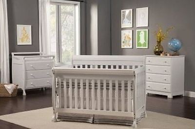 Convertible Baby Crib 3PC Set Nursery Furniture Dresser Changing Table Storage