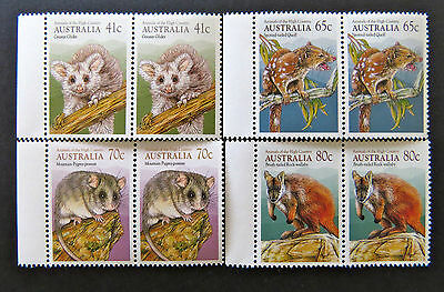 Australian Decimal Stamps:1990 Animals of the High Country - Set of 4x2-Tabs MNH