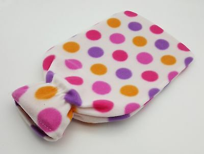 2L Hot Water Bottle Fleece Removable Soft Pink Patterned Cover Cosy Xmas Gift